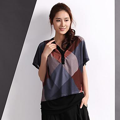 Yishidian® Dame U-hals Kort Ærme T Shirt Sølv-YSD1366