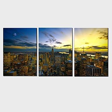 Op gespannen doek Abstract / Landschap / Stilleven / Vrije tijd Modern / Klassiek / Europese Stijl,Drie panelen Canvas HorizontaalPrint