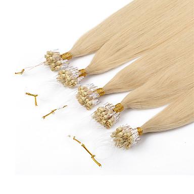 voordelige Extensions van echt haar-PANSY Microring haarextension Extensions van echt haar Recht Stof Braziliaans haar Blonde