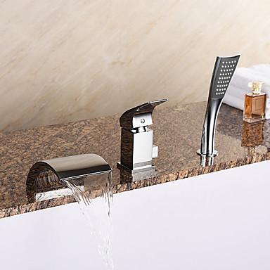 Badewannenarmaturen - Moderne Chrom Romanische Wanne Keramisches Ventil Bath Shower Mixer Taps / Messing / Einhand Drei Löcher