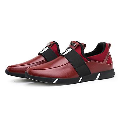 Herrer Sneakers Komfort Læder Forår Efterår Afslappet Gang Komfort Flad hæl Sort Rød Flad