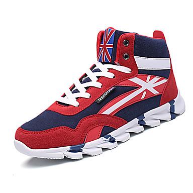 Homens sapatos Couro Ecológico Primavera Outono Conforto Tênis Basquete Cadarço para Casual Preto Vermelho Azul