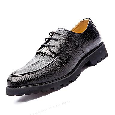 Masculino sapatos Couro Ecológico Primavera Outono Conforto Oxfords Cadarço Para Casual Preto Marron Vermelho