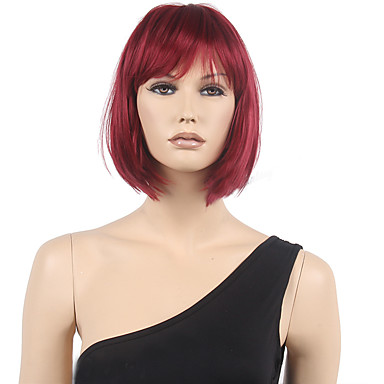 Synthetic Wig Straight Style Bob Capless Wig Red Black / Burgundy Synthetic Hair Women's Red Wig Short Cosplay Wig