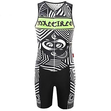 Malciklo Hombre Manga Corta Maillot de Ciclismo con Shorts Bicicleta Sets de Prendas, Almohadilla 3D, Secado rápido, Transpirable Coolmax®, Licra Geometría / Alta elasticidad / SBS cremalleras