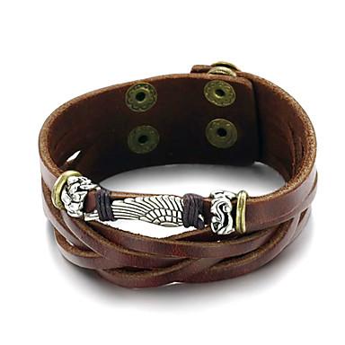 Heren Lederen armbanden Vintage Meerlaags Modieus Verstelbaar Rock Leder Legering Geometrische vorm Sieraden Lahja Dagelijks Causaal