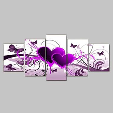 håndmalte red hot kjærlighet sommerfugl blomster landskapsoljemalerier på lerret 5pcs / set ingen ramme