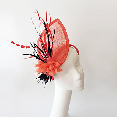 fascinador de pena de linho headpiece elegante estilo feminino clássico