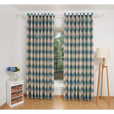Dois Painéis Tratamento janela Moderno , Xadrez Sala de Estar Poli/Mistura de Algodão Material Cortinas cortinas Decoração para casa For