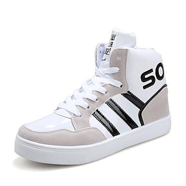 Heren Sneakers Lente Herfst Comfortabel Lakleer Casual Platte hak Veters Zwart Blauw Wit