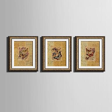 E-HOME® Framed Canvas Art, Butterfly Framed Canvas Print Set Of 3
