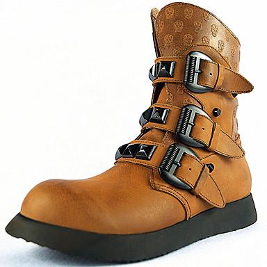 Hombre Zapatos Cuero de Napa Primavera Verano Otoño Invierno Botas Hebilla para Casual Al aire libre Marrón