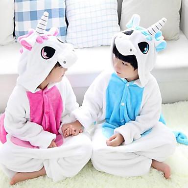 Kinder Kigurumi-Pyjamas Unicorn Pyjamas-Einteiler Flanell Vlies Blau / Rosa Cosplay Für Jungen und Mädchen Tiernachtwäsche Karikatur Fest / Feiertage Kostüme