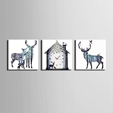Modern/Hedendaags Dieren Wandklok,Vierkant Canvas 25 x 25cm(10inchx10inch)x3pcs Voor Binnen Klok