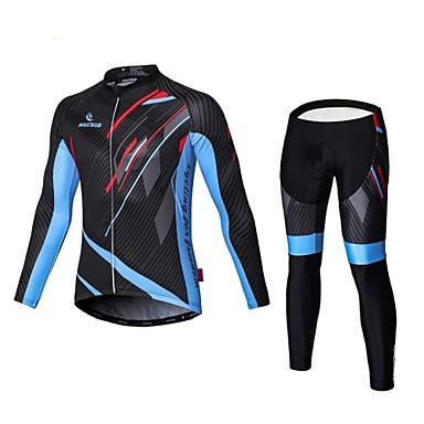 Malciklo Herre Langermet Sykkeljersey med tights - Svart Britisk Sykkel Tights Med Seler Jersey Klessett, 3D Pute, Fort Tørring, Pustende