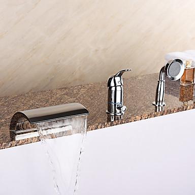Moderne Romersk Kar Vandfald / Håndbruser inkluderet with  Keramik Ventil Enkelt håndtag tre huller for  Krom , Badekarshaner