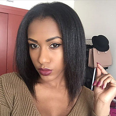 povoljno Ljepota i kosa-Ljudska kosa Perika s U-otvorom Perika Srednji dio Jennifer stil Brazilska kosa Ravan kroj Kinky Ravno Perika 130% Gustoća kose s dječjom kosom Prirodna linija za kosu Afro-američka perika 100