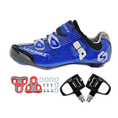SIDEBIKE Erwachsene Fahrradschuhe mit Pedalen & Pedalplatten / Rennradschuhe Nylon Polsterung Radsport White + Black + Blau Herrn