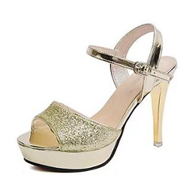 Sandaler-PUDame-Sølv Guld-Fritid-Stilethæl