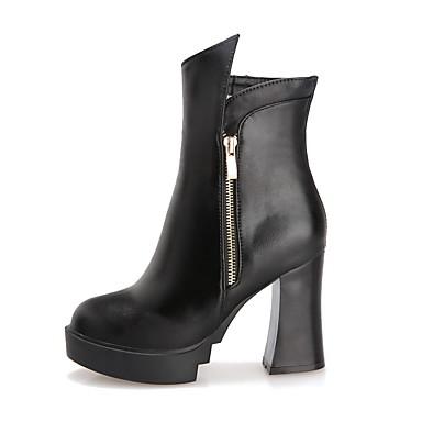 Støvler-PU-Komfort Modestøvler-Dame-Sort Rød-Udendørs Fritid-Tyk hæl