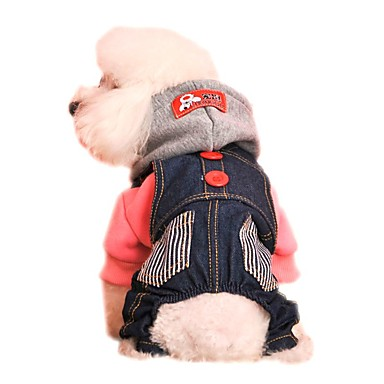 Cat Dog Hoodie Jumpsuit Dog Clothes Holiday Fashion Jeans Red Blue Costume For Pets