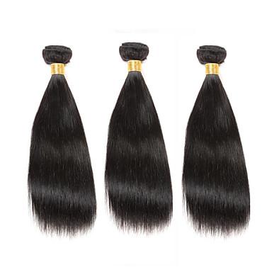 3 pakker Brasiliansk hår Rett Ubehandlet hår Menneskehår Vevet 8-12 tommers Hårvever med menneskehår Hairextensions med menneskehår
