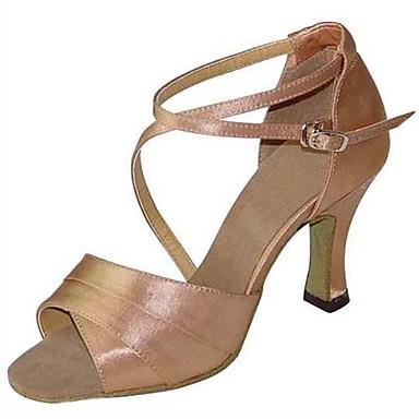 Damen Schuhe für den lateinamerikanischen Tanz / Salsa Tanzschuhe Satin Sandalen / Absätze Schnalle Maßgefertigter Absatz Maßfertigung Tanzschuhe Champagner / Innen / Leistung