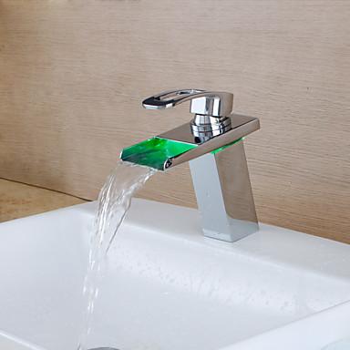Håndvasken vandhane - Vandfald / LED Krom Centersat Enkelt håndtag Et Hul