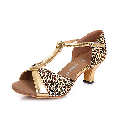 Feminino Latina Salsa Couro Salto Ensaio/Prática Presilha Salto Agulha Preto e Dourado Dourado Leopardo Pele 2