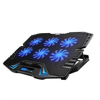 justerbar LED-skærmen smart styring laptop afkøling pad med 6 fans