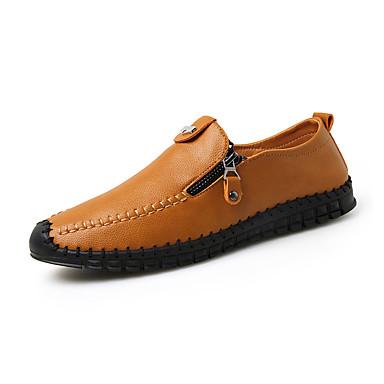 Heren Loafers & Slip-Ons Lente Herfst Comfortabel Leer Casual Platte hak Zwart Blauw Bruin