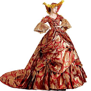 Victoriaans Rococo Kostuum Dames Jurken Gemaskerd Bal Feestkostuum Rood Vintage Cosplay Kant Katoen Lange Lengte Hofsleep