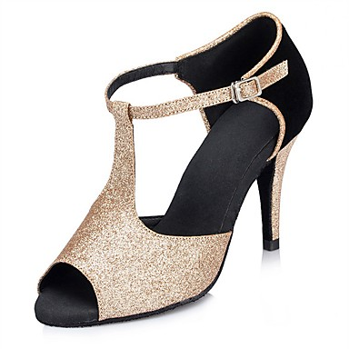 Feminino Latina Salsa Glitter Sandália Salto Interior Apresentação Fivela Com Glitter Salto Personalizado Preto Dourado 1