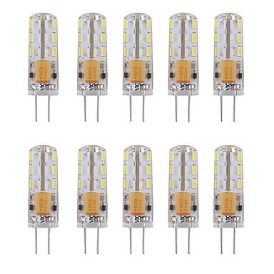 10pcs 1W 460lm G4 LED-lamper med G-sokkel Tube 24 LED perler SMD 3014 Dekorativ Varm hvit Kjølig hvit 12V