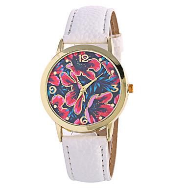 Dame Quartz Digital Armbåndsur Månefase PU Bånd Vedhæng Blomst Vintage Slik Afslappet Mode Sej Sort Hvid