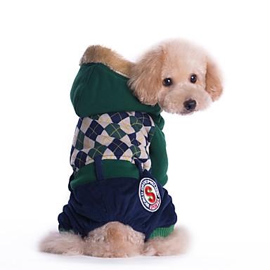 Katze Hund Mäntel Overall Hundekleidung Lässig/Alltäglich warm halten Modisch Britisch Rot Grün Kostüm Für Haustiere