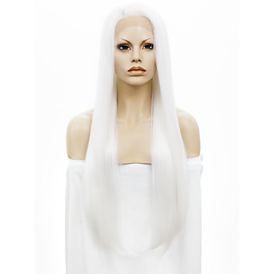 povoljno Perike i ekstenzije-Sintetičke perike Ravan kroj Kardashian Stil Lace Front Perika Bijela Obala Sintentička kosa Bijela Perika StrongBeauty