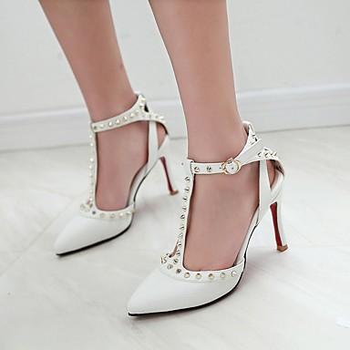 Feminino Sapatos Couro Ecológico Primavera Verão Conforto Saltos Salto Agulha Tachas Para Casual Branco Preto Rosa claro