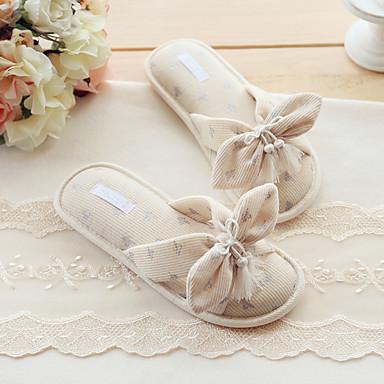 Feminino Sapatos Algodão Primavera Verão Conforto Chinelos e flip-flops Caminhada Rasteiro Laço Para Casual Champanhe