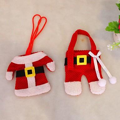kerst tafeldecoraties mes en vork zak kerst bestek 2 stuks set kleine kleren weihnachten dekoration geschenken