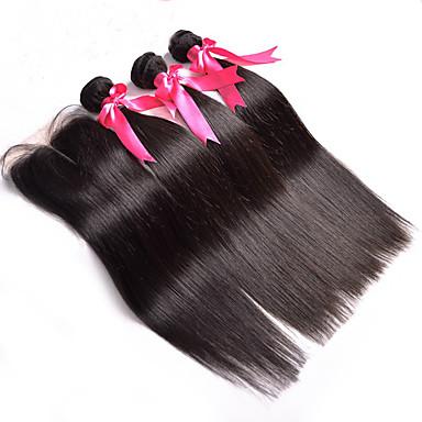 Indiaas haar Haar Weft met Sluiting Recht  Haarextensions 4-delig Zwart