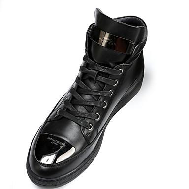 Heren Schoenen Leer Herfst Laarzen Veters Voor Causaal Zwart