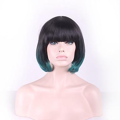Naisten Synteettiset peruukit Suora Vihreä Liukuvärjätyt hiukset Luonnollinen peruukki Rooliasu peruukki