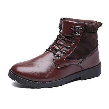 メンズ 靴 スエード PUレザー 冬 秋 カーボーイ/ウエスタンブーツ 乗馬靴 コンバットブーツ ブーツ 編み上げ のために カジュアル ブラック Brown