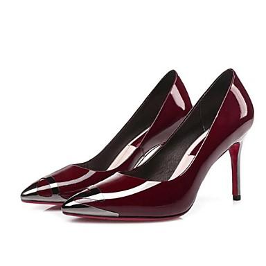 Feminino Sapatos Couro Primavera Verão Outono Saltos Salto Agulha Bico Metálico para Preto Vinho
