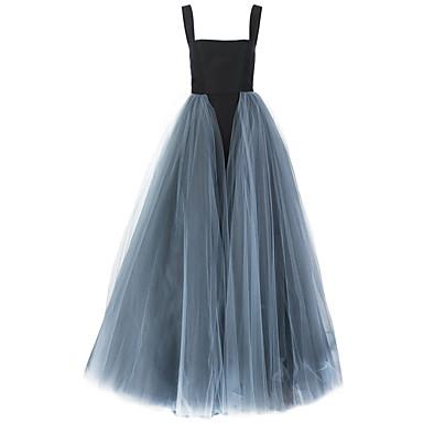 fb7fe96e88a9 Plesové šaty Špagetová ramínka Dlouhá vlečka Tyl Formální večer Šaty s  Nabíraná sukně Třásně podle Shang