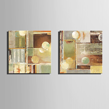 E-HOME® Stretched Canvas Art Abstract Pattern Decoration Painting  Set of 2