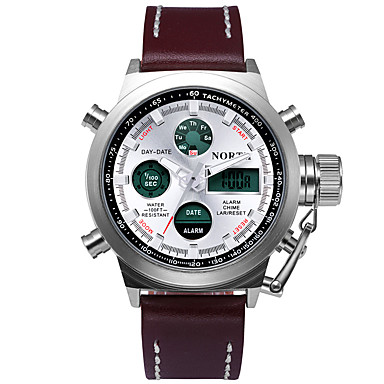Masculino Relógio Esportivo Relógio de Pulso Digital Quartzo JaponêsLED Calendário Impermeável Dois Fusos Horários alarme Cronômetro