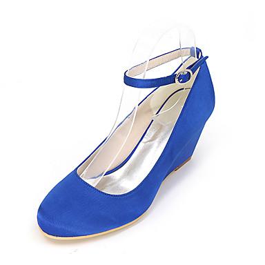 Mulheres Sapatos Seda Primavera / Verão Conforto Saltos Salto Plataforma Dourado / Champanhe / Ivory / Casamento / Festas & Noite