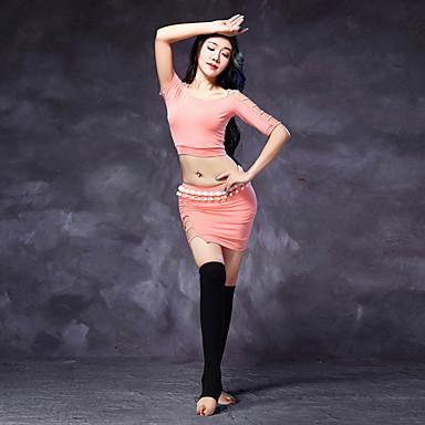 Dança do Ventre Roupa Mulheres Treino Modal Fenda Frontal Meia Manga Natural Blusa Saia